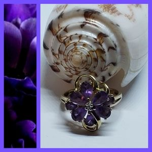 Vintage Amethyst 14K Solid Yellow Gold Floral Ring